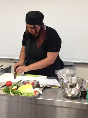 Student in cooking class.